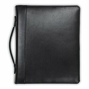 Samsill Regal Leather Padfolio Zipper 1 Inch Ring Binder Carry Handle Interior