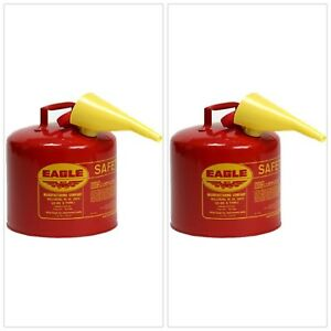 5 Gallon Gasoline Container With Funnel Red Galvanized Steel Safety Gas Can New