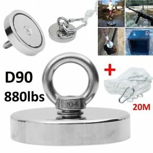 Fishing Magnet Neodymium Very Strong Retrieving Treasure Hunt 880lb Pull Force H