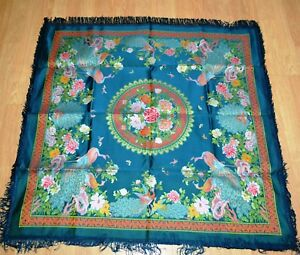 Unique Antique Vintage Chinese Silk Embroidered Embroidery Tablecloth 1960 S