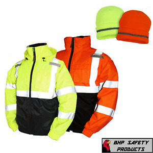 Hi vis Insulated Safety Bomber Reflective Jacket With Winter Weather Beanie Hat