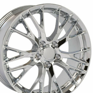 20x10 19x8 5 Wheels Fit C7 Corvette Flow Formed C7 Z06 Chrome Rims 58982 W1x Set