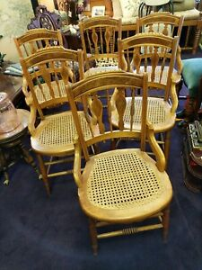 6 Antique Unique Back Cane Seat Side Chairs Turned Spindle Leg