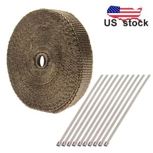 Top Titanium Exhaust Header Heat Wrap 1 X 50 Roll With Stainless Ties Kit Us