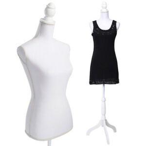 Female Mannequin Torso Dress Clothing Form Display Black Tripod Stand Fiberglass