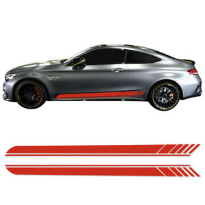 2pcs Side Stripes Vinyl Decal Stickers For Mercedes Benz Amg Edition 1 C63 Coupe