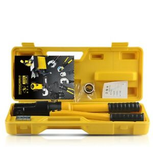 Hydraulic Wire Battery Cable Lug Terminal Crimper Crimping Tool 11 Dies From Usa