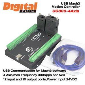 4 Axis Cnc Motion Controller 300khz For Mach3 With Usb Communication Uc300