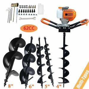 62cc Gas Powered Earth Auger Power Engine Post Hole Digger 4 5 6 8 drill Bit