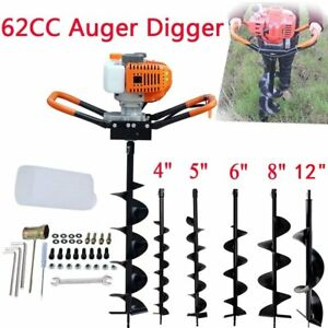 62cc Gas Powered Earth Auger Power Engine Post Hole Digger 4 12 drill Bit Oy