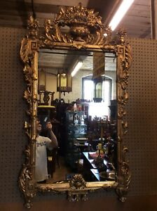Antique Giltwood Beveled Glass Mirror 55 Tall 33 Wide