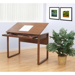 Brown Solid Wood Drafting Table Slide Out Drawer Tilt Classic Rectangle Work New