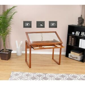 Glass Top Solid Wood Frame Drafting Table Slide Out Tray Classic Art Office New