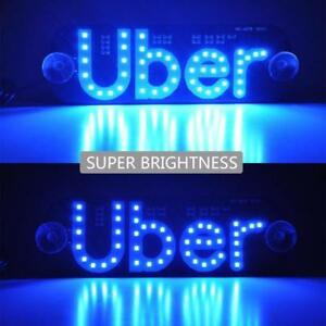 Uber Led Sign Light Window Driver Taxi Sign Blue