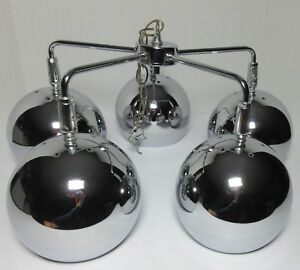 Mid Century Modern Chrome Metal Balls 5 Arm Ceiling Light Chandelier Space Age