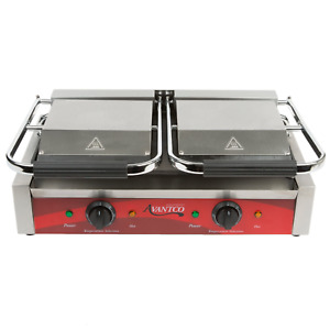 Commercial Heavy Duty Electric Dual Sandwich Panini Grill Press Grooved Machine