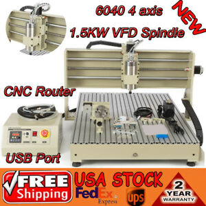 Usb 6090 4 Axis Cnc Router Milling Engraver Machine 3d Spindle Motor 1500w Vfd