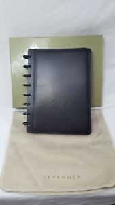 Levenger Circa Black Leather Junior Foldover Notebook