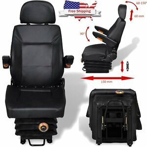 Black Tractor Seat Compact Mower Seating W Backrest Suspension Slide Track