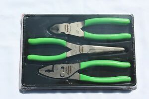 New Snap On Green 3 Piece Pliers Set Adj Joint Diagonal Needle Nose Pl307cf