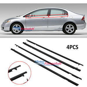 4pcs Auto Window Moulding Trim Weatherstrip Seal Belt For Honda Civic 2006 2011