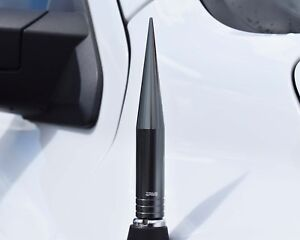 True Spike Gunmetal 5 Billet Fat Spiked Am fm Radio Antenna For Chevy Silverado