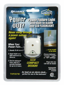 Reliance Thp207m Power Out Failure Alarm With Led Flashlight 120v