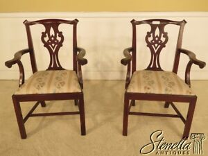 L41945b Pair Henkel Harris 101 Mahogany Dining Room Arm Chairs