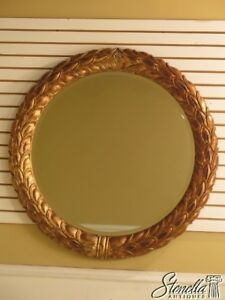 L40919 Large Round Gold Frame Wreath Style Decorator Mirror