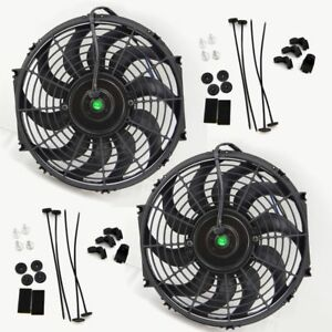 12 Inch Universal Slim Fan Push Pull Electric Radiator Cooling 12v Mount Kit X2