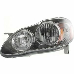 Headlight For 2005 2008 Toyota Corolla Left Halogen Black Interior With Bulb