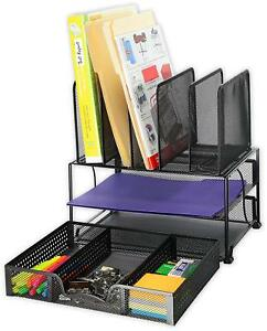Mesh Desk Organizer Sliding Drawer Double Tray 5 Upright Sections Blac