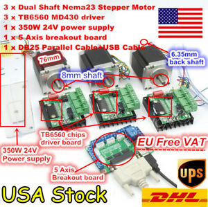 usa 3 Axis Nema23 Stepper Motor Dual Shaft 76mm 270oz in tb6560 Driver Cnc Kit
