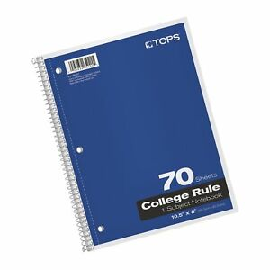 Tops 1 subject Spiral Notebooks College Rule 8 X 10 5 Inches Free Shipping