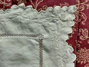 Large Vintage Fine Linen Square Boudoir Pillow Case Cover With Embroidered Edge