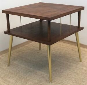 Vintage Atomic Mid Century Modern Walnut Two Tier End Table Lane Parquet Veneer