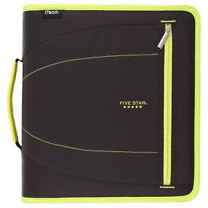Five Star 2 Zipper Binder W handle 530 Sheet Cap Removable Folders Black yellow