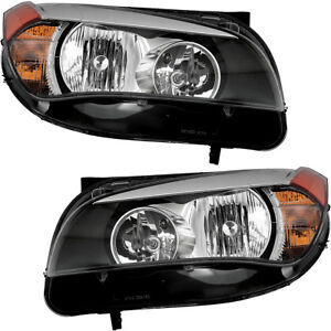 Halogen Headlights Headlight Assembly New Pair Set For 2013 2014 2015 Bmw X1