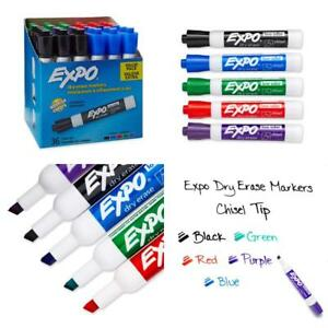 Expo Low Odor Dry Erase Markers Chisel Tip Assorted Colors 36 Pack