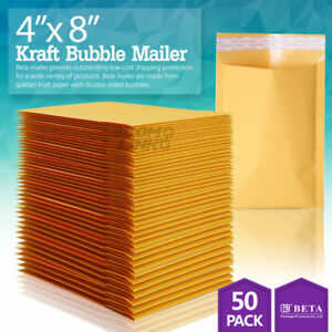 50 000 4x8 Kraft Paper Bubble Padded Envelopes Mailers Shipping Case 4 x8