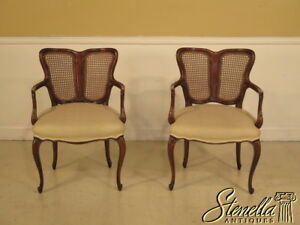 38439e Pair Italian Made Cane Back French Style Arm Chairs