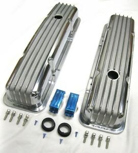 Small Block Chevy Aluminum Retro Nostalgia Finned Short Valve Covers Sbc 305 350