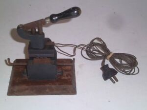 Antique Cast Iron Hot Foil Stamping Machine Small Size W wooden Plug Early 1900s