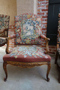 Antique French Carved Walnut Fireside Arm Chair Tapestry Sheep Louis Xv