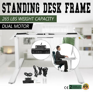 Electric Sit stand Standing Desk Frame Dual Motor Steel Sturdy 3 Stage