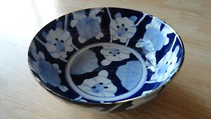 Antique Bowl Chinese Porcelain Blue White Old 9 3 8 X 3 7 8 In Asian