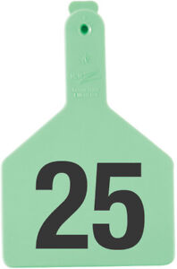 Z Tags Cow Ear Tags Green Numbered 101 125