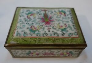 Ll17 Chinese Famille Rose Porcelain Handpainted Box Hinge As Is
