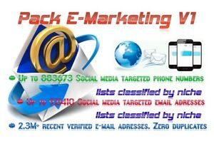 Pack Email Adresses Lists Phone Numbers Lists Social Media Email marketing V1