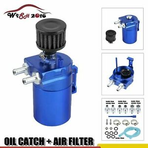Blue Cylinder Aluminum Engine Oil Catch Reservoir Breather Can Tank Filter Kit